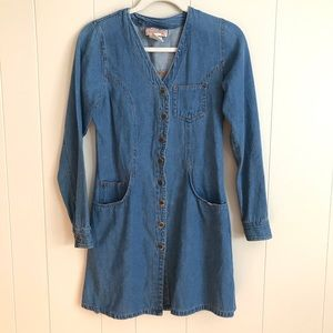 VTG 90s Western Blue Jean Button Up Shirt Dress S
